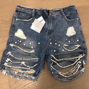 NWT Pearl embellished Boy Shorts US Size 6